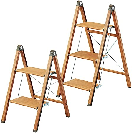 XuQinQin Taburete plegable Taburete alto multifuncional Cocina Escalera de dos escalones Escalera creativa de madera maciza Banco de escalera estrecha for el hogar Escalera de espiga plegable de alumi: Amazon.es: Hogar