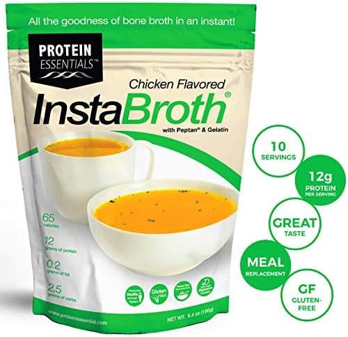 InstaBroth, Bone Broth Powder with Grass Fed, Pasture Raised Collagen and Gelatin, 12g Protein (6.4oz) (Chicken Flavor)