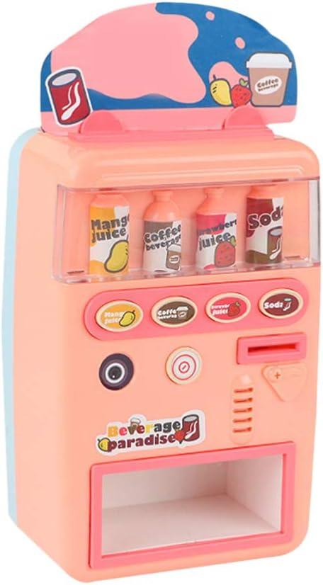TOYANDONA Máquina Expendedora Juguete Código Pago Máquina de Bebidas Simulación de Juguete Juego de Simulación Juguete para Aprendizaje Temprano Desarrollo Cerebral Apoyo Educativo (Rosa)