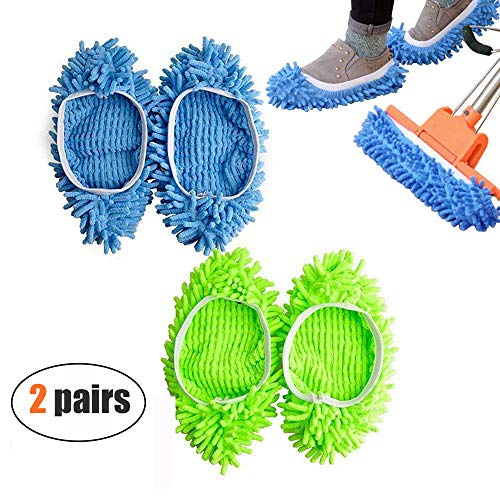 Microfiber Dusting Slippers 4 Pcs(2 Pairs),Washable Dust Mop Slippers Shoes Cover,Reusable Cleaning Socks for Bathroom,Office,Kitchen,House Cleaning