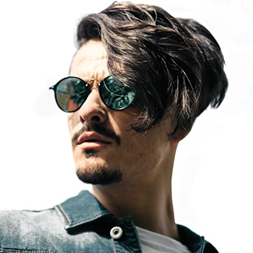 Round Retro Polarized sunglasses Driving Fishing Shopping Glasses Mens Steampunk Metal Frame, UV400 protection (black/green)