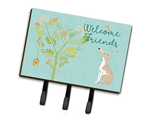Caroline's Treasures BB7626TH68 Welcome Friends Whippet Leash or Key Holder, Triple, Multicolor