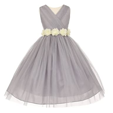 990050a1c Amazon.com  Little Girls Silver Ivory Chiffon Floral Sash Tulle ...