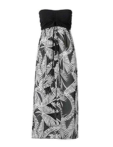 Femmes Noir Femmes Noir Robe Imprimer de paule soire Plage Off Genou de Longueur Bohme Les Blanc LRUD Floral Robe UqdwTFF