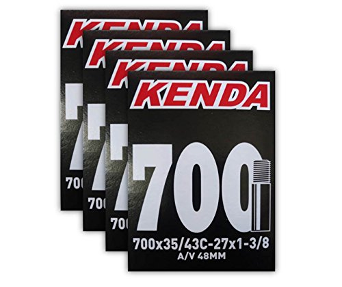 Schrader Valve Inner Tube - Kenda 700x35-43c (27x1-3/8) 48mm Schrader Valve Bike Tube Bundle - 4 Pack