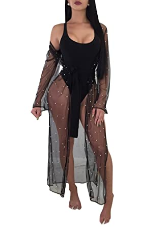 3562ce52df Romacci Women Bikini Cover up See Through Mesh Faux Pearl Beading Open  Front Long Sleeve Split Gown Cardigan at Amazon Women s Clothing store