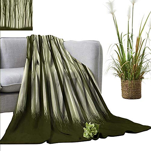 AndyTours Beach Blanket,Forest,Mother Nature Theme Illustration of Mystical Forest with Trees Print,Army Green and Sage Green,300GSM, Super Soft and Warm, Durable 50