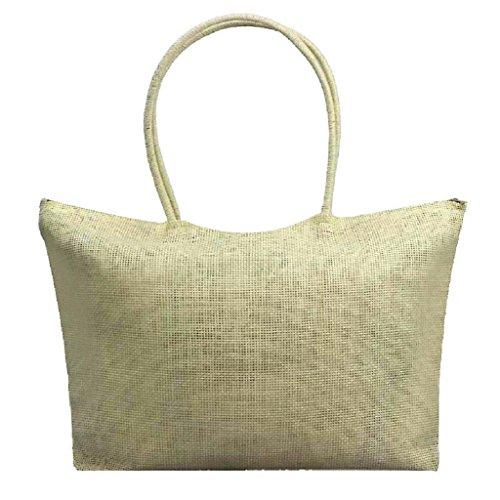 Di Bag Tela Della Quicklyly Borsa Big Spalla Cerniera Shopper Mano Donna Con Spiaggia Paglia Beige XAaEx5q