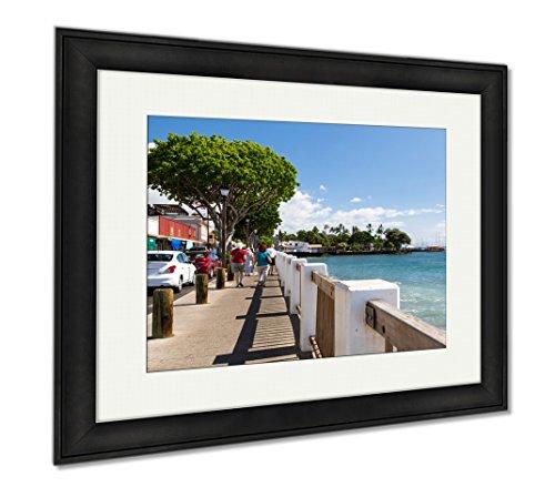 Ashley Framed Prints USA Hawaii Maui Lahaina, Wall Art Home Decoration, Color, 26x30 (frame size), Black Frame, - Shops Lahaina In