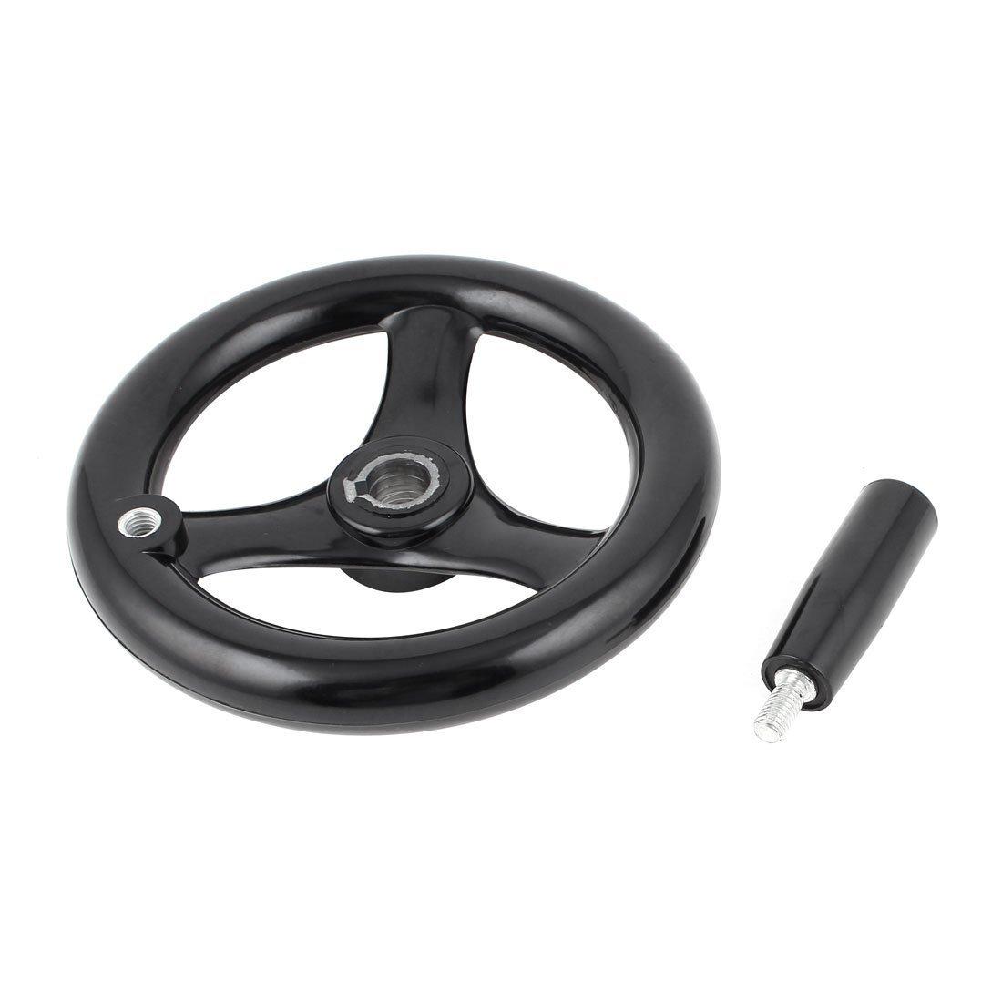 sourcingmap® 16mm x 160mm Negro baquelita 3 de radios del volante de la rueda w de la mano de la manija para Torno US-SA-AJD-90410