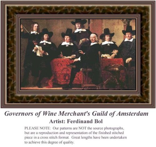 Governors of Wine Merchant's Guild of Amsterdam, Fine Art Counted Cross Stitch Pattern (Pattern Only, You Provide the Floss and Fabric)