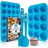 Baking & Beyond Premium Silicone Muffin Pan   Non Stick Silicone Cupcake Pan - 12 Cup Muffin Tray, 24 Cups Mini Cupcakes Pans   Silicon Muffin Molds   Silicone Baking Set - 2 Spatulas - Recipe E-book