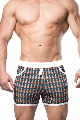 (Men's Athletic Booty Short Shorts,Pineapple,Medium)