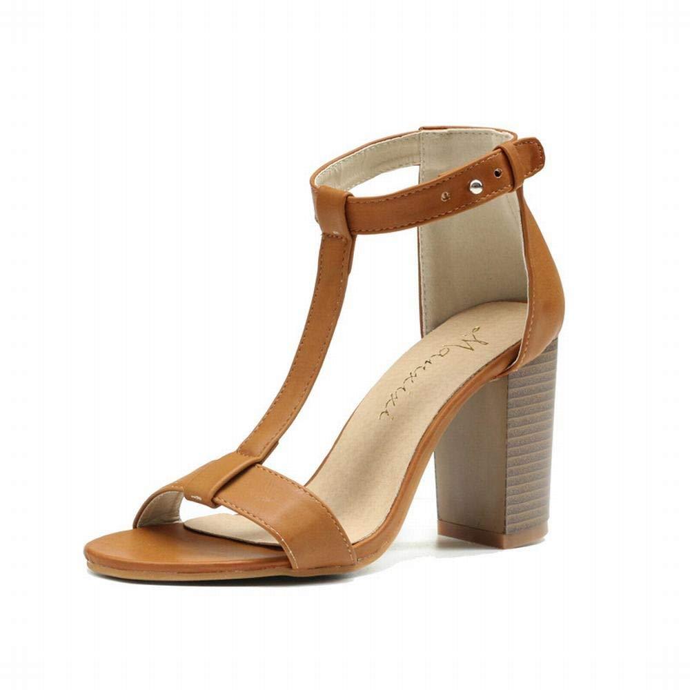 Marron EGS-chaussures Grain de Bois épais avec des Sandales Chaussures Chaussures Chaussures à Talons Hauts Sauvages de la Mode Sandales à Talon Femme Chaussures de Cricket (Couleur   Noir, Taille   39) 153