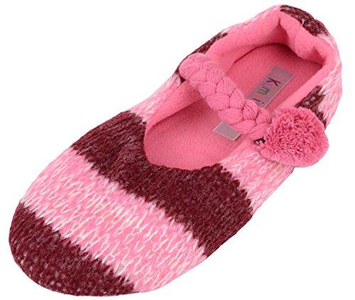 Dames / Femmes Glisser Sur Des Pantoufles / Pompes / Chaussures Dintérieur Avec Inners Polaire Chaud Rose