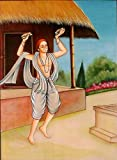 Saints of India - Narsi Mehta - Water Color Painting On Silk Fabric