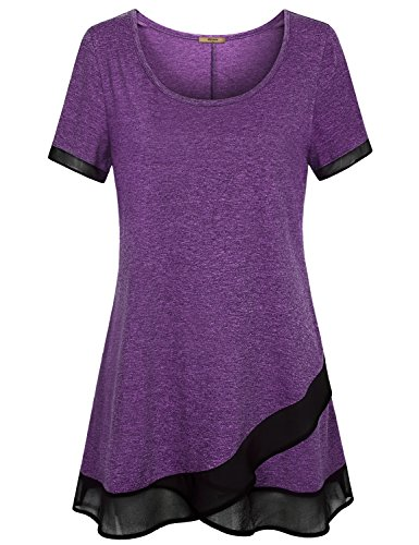 Miusey Tunic Tops For Leggings For Women, Boat Neck Short Sleeve Shirt Tall Curved Hem Space Dye Asymmetric Happy Western Cool Swing Casual Outstanding Becoming Good Length Drape Purple XL (Dye Chart Color)