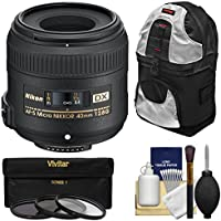 Nikon 40mm f/2.8 G DX AF-S Micro-Nikkor Lens with 3 Filters + Sling Backpack + Kit for D3200, D3300, D5300, D5500, D7100, D7200 Cameras