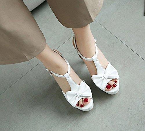 Sandales Aisun Toe Noeud Blanc Strap Femme Peep Chic T qwxF0qa7