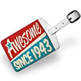 Luggage Tag Awesome since 1943, Birthday/Year, Travel ID Bag Tag - Neonblond