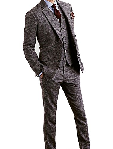 Men's Houndstooth Tweed Wool Blend Grey Grid Plaid Check Tuxedos Groom Slim Fit Formal Vintage 3 Pieces Suit ()