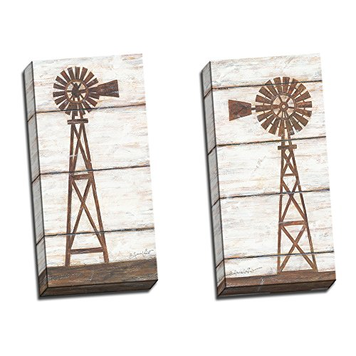 Two 10x20 Farmhouse Windmill Stretched Canvas Art Rustic Decor (Art Windmill)