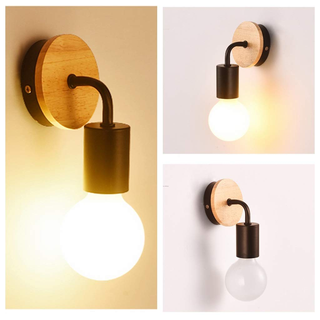 Creative Wooden Small Wall Light Retro Minimalist Bedside Lamp Nordic Dining Room Decorative Wall Sconces Mini LED Wall Lamp