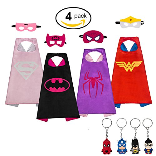 Flags Character Six Costumes (MIJOYEE Superhero Dress Up Costumes for Kids (Girl)and Comics Cartoon 4 Satin Capes with Felt Masks (Costumes for)