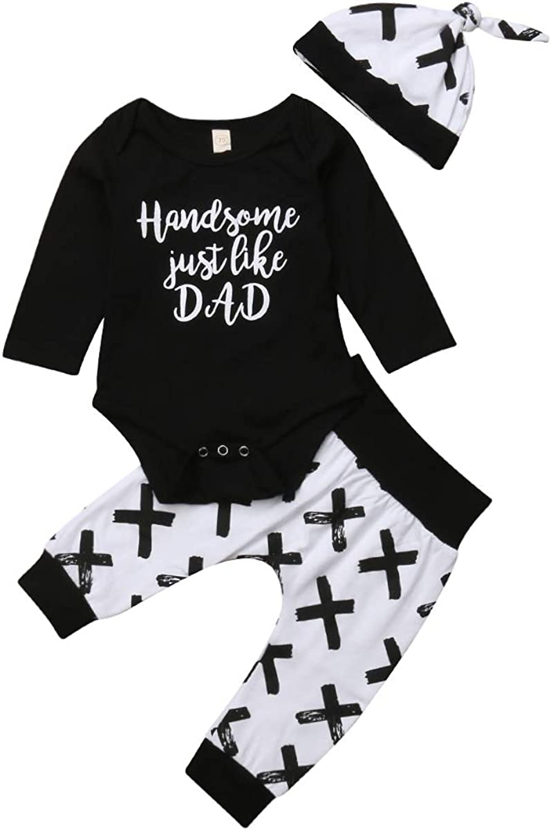 Toddler Place Baby Boys Handsome Just Like Dad Funny Long Sleeve Bodysuit Top+Criss Cross Printed Long Pants+Hats Outfits