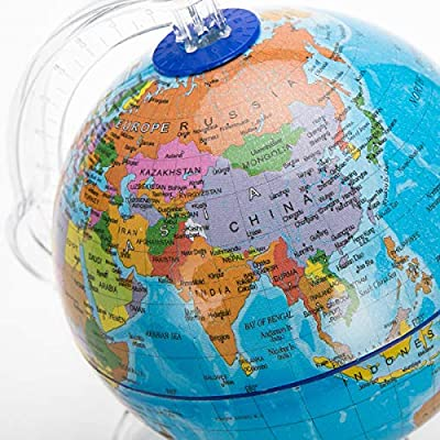 World Globe Swivel and Tilt on Stand with Plastic Base for Children Geographic Teaching Educational 10.6cm: Office Products