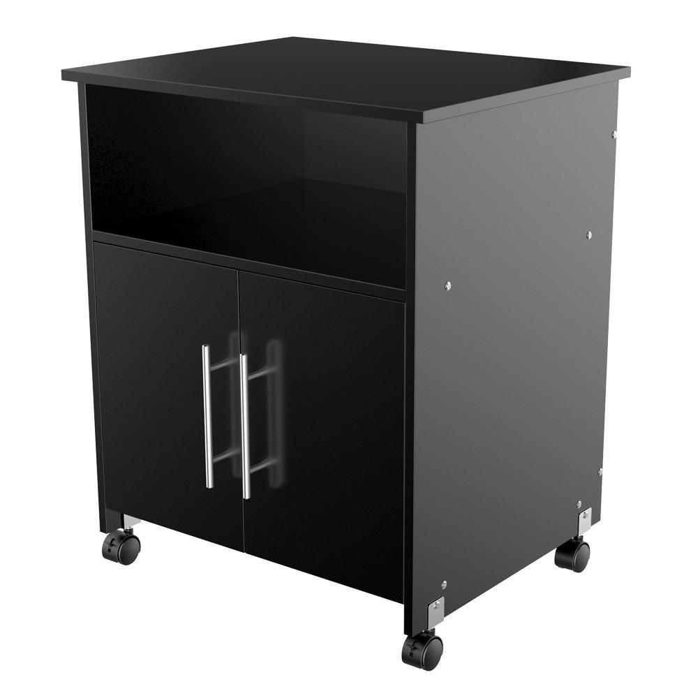 Topeakmart Mobile Office Desk Cabinet Priter Stand Home Rolling Shelf Cart Storage Cupboard Black
