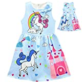 Tiaoqi Unicorn Party Gifts Dress,Summer Sleeveless Bow Crew Neck Floral Dress (XL, Blue)