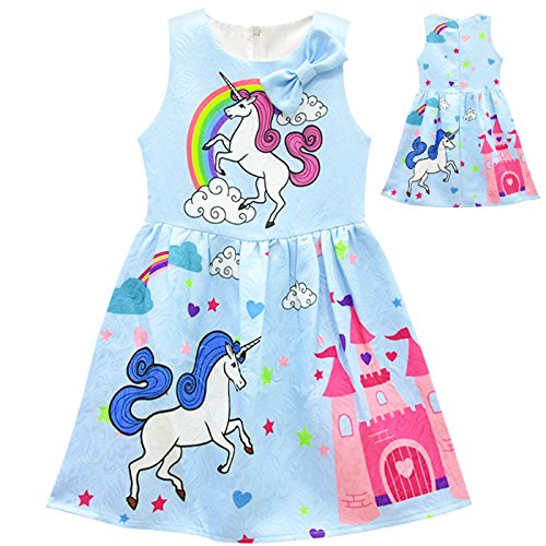 Tiaoqi Unicorn Party Gifts Dress,Summer Sleeveless Bow Crew Neck Floral Dress (XL, Blue) by Tiaoqi
