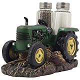 Vintage Farm Tractor Salt and Pepper Shaker Set with Decorative Display Stand Holder Figurine for Rustic Country Kitchen Decor & Old Fashioned Table Decorations As Retro Model Gifts for Farmers by Home-n-Gifts