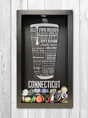 Connecticut Craft Beer Typography Bottle Cap Shadow Box, Beer Cap Holder by The Hoppy Store (Image #1)