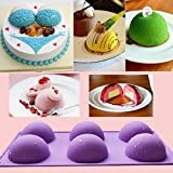 JoyGlobal Silicone 6-Cavity Half Circle, Half Sphere, Half Round, Hemisphere Baking Mould, Multicolor