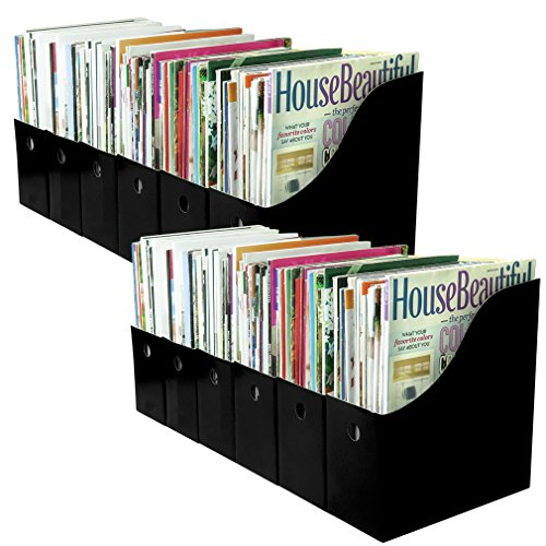 Evelots Set of 12 Magazine File Holders Desk Organizer, File Storage with Labels, Black by Evelots