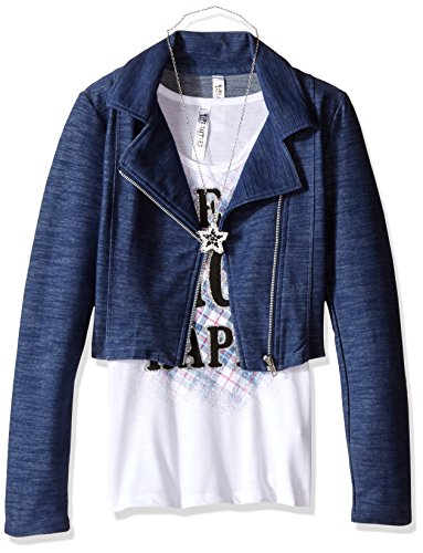 Price comparison product image Beautees Big Girls' 2 Pc Solid Quilted Moto Jacket with Screen Tee, Lost, Navy, Medium