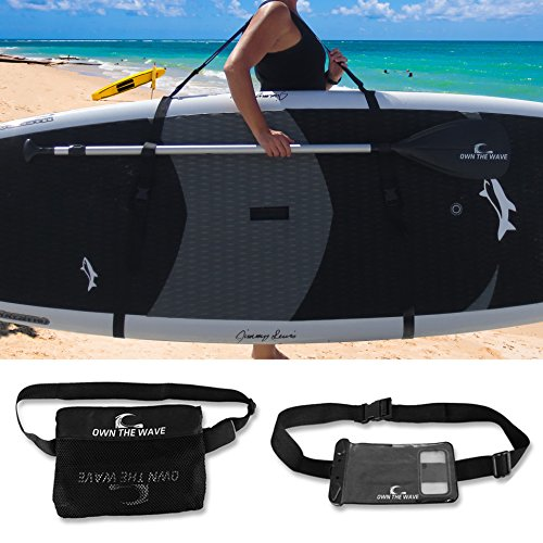 Own the Wave Premium SUP Carry Strap (Triple Pad) w/ Waist Bag and Waterproof Phone Case (Triple Board Bag)