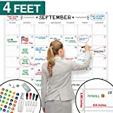 "X Large Dry Erase Wall Calendar - 36""x48"" Premium Giant Oversized Undated Erasable Deadline Task Calendar for 2019 2020 - Jumbo Monthly Task Organizer Planner for Home, Business & Dorm Room"