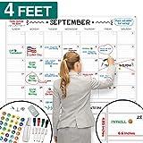 X Large Dry Erase Wall Calendar - 36'x48' Premium Giant Oversized Undated Erasable Deadline Task Calendar for 2019 2020 - Jumbo Monthly Task Organizer Planner for Home, Business & Dorm Room
