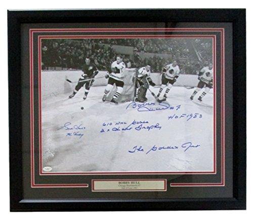 Gordie Howe Bobby Hull Dual Signed Framed 16x20 22x27 Photo 5 Inscriptions JSA