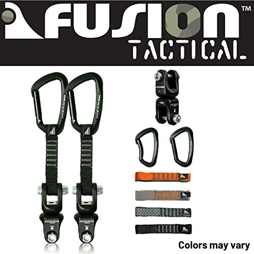 Fusion Climb 2-Pack 12cm Tactical Military Rescue Quickdraw Set with Vapor III Straight Gate Black/Dual Shackle Rotation Swivel Device Carabiners Strongly Made in The USA ()