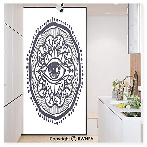 Decorative Window Film,Eastern Spiritual Design with Lotus Flower Petal Mystical Powers of Nature Print Static Cling Glass Film,No Glue/Anti UV Window Paper for Bathroom,Office,Meeting Room,Bedroom,P