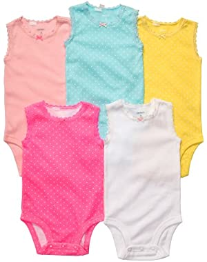 Baby Girls 5-Pack Sleeveless Lace Trim Bodysuit Set