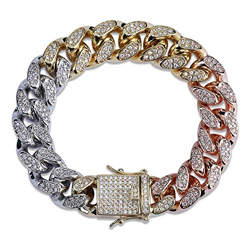 SHINY.U 14mm 14K Gold Plated Hip Hop Iced Out CZ Lab Diamond Miami Cuban Link Chain Bracelet for Men and ()