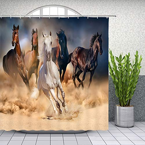 - Lileihao Horse Shower Curtain Running Strong Animal Bathroom Waterproof Polyester Fabric Home Bath Decor Accessories Hanging Curtains Set with Hook 69 x 70 Inch Brown Black White