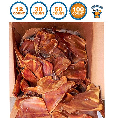 (123 Treats - Pig Ears Dog Chews (100 Count) 100% Natural Pork Ears USDA & FDA Certified)