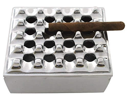 The Big Easy Tobacco Accessories Square Grid Cigar Ashtray, Silver