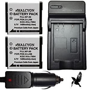 Two Halcyon 1400 mAH Lithium Ion Replacement Battery and Charger Kit for Fujifilm NP-50 and Fujifilm REAL 3D W3, F70EXR, F75EXR, F80EXR, F85EXR, F200EXR, F300EXR, F305EXR, F500EXR, F505EXR, F550EXR, F600EXR, F605EXR, X10 Digital Cameras